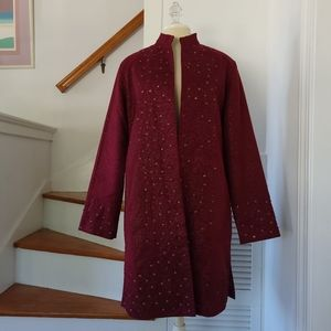 Anage tunic length beaded duster, Sz M